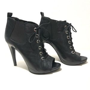 NINE WEST BLACK LACE UP PEEP TOE ANKLE BOOTS